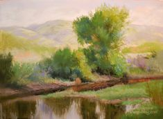 California Landscape Spring Pastel Painting – Quiet Spring Reflections – Western Sierra Foothills – by Karen Winters  