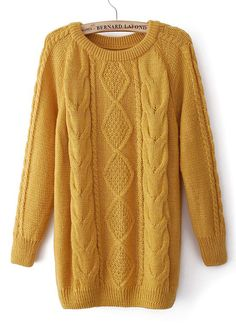 Yellow Long Sleeve Diamond Patterned Cable Knit Sweater