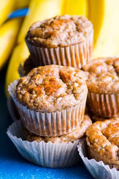 Healthy banana muffins recipe with applesauce, whole wheat flour and no sugar. Moist, easy, freezer friendly and an absolute hit with everyone! Look easy to modify for GF Healthy Cake, Healthy Muffins, Healthy Cookies, Healthy Baking, Healthy Desserts, Dessert Recipes, Healthy Treats, Healthy Drinks, Stevia