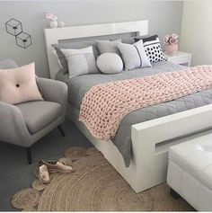 grey and pastel pink bedroom