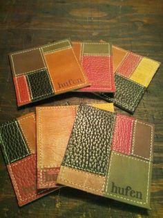 色とりどりな革のパッチワークがレトロなレザーコースター