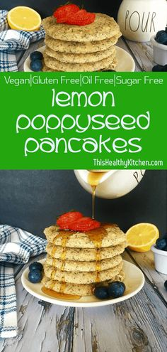 Lemon poppy seed pancakes are tart, sweet, delicious, and moist. Try these perfectly healthy and delicious pancakes for breakfast, lunch or dinner! Vegan Breakfast Recipes, Vegan Recipes, Vegan Food, Breakfast Healthy, Waffle Recipes, Dinner Healthy, Vegan Meals, Brunch Recipes, Breakfast Ideas
