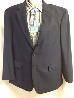 Stafford Essentials Men Sport Coat 44S Navy Blue Blazer 2 Button Jacket Upscale #Stafford #TwoButton