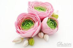 How to make a Gumpaste Ranunculus Flower Tutorial - CakesDecor Fondant Flower Tutorial, Fondant Figures Tutorial, Fondant Flower Cake, Fondant Rose, Cake Flowers, Fondant Baby, Fondant Cakes, Sugar Paste Flowers, How To Make Rose