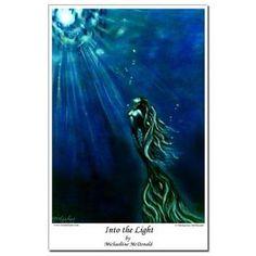 Mini Poster Print - Into The Light Mermaid by Michaeline McDonald.