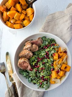 A delicious, comforting whole meal of kale, roasted sweet potatoes, pomegranate, and warm pork tenderloin, this bowl is sure to become a favorite. Paleo, Whole30, and AIP #aiprecipes #thrivingonpaleo Pork Recipes, Paleo Recipes, Real Food Recipes, Aip Diet, Roasted Sweet Potatoes, Breakfast Bowls, Whole30, Entrees, Pomegranate