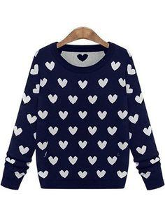 Royal Blue Long Sleeve Hearts Pattern Sweater US$30.33