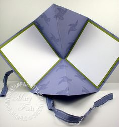 8x8  ~ stamp one side; fold in half then turn 90 degrees and fold in half again -on  opposite squares crease with fold toward center of card - finished card 4x4