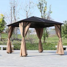 Outsunny Steel Hardtop Gazebo Patio Tent Outdoor Sun Shelter Aluminum w/ Curtain Patio Tents, Backyard Gazebo, Garden Gazebo, Folding Sun Loungers, Hardtop Gazebo, Aluminum Gazebo, Sun Sail Shade, Hammock Swing Chair, Gas Bbq