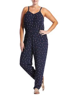 Lucky Brand Diamond Rain Romper Womens - Navy Multi (3X)
