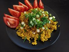 Tofu praženica Tofu, Risotto, Grains, Rice, Ethnic Recipes, Jim Rice, Brass