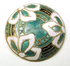 "Antique French Enamel Button Aqua Color Basse Taille w/ 3 White Flowers 7/8"""