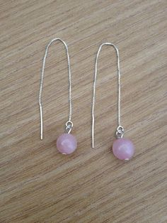 Earwires with rose quartz natural stone earrings handmade jewelry