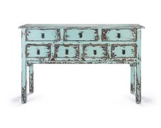 Tukang Console Table - A stunning distressed effect Oriental side table crafted in Indonesia from Mindi wood, and hand painted in beautiful ocean blue. Beautiful Ocean, Furniture Collection, Console Table, Entryway Tables, Oriental, Drawers, Hand Painted, Living Room, Storage