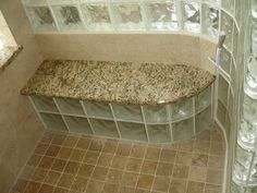 Glass block bench in shower