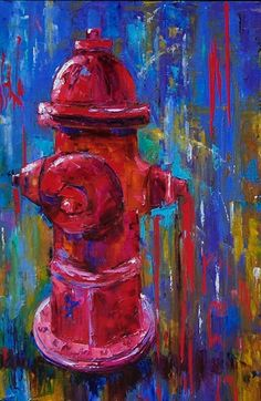 Abstract Fire Hydrant large colorful painting art by Debra Hurd, painting by artist Debra Hurd