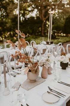 A tablescape laced with peach blooms in contemporary silhouettes. See more of this beautifully styled Perth W… in 2020 Wedding Trends, Wedding Styles, Wedding Centerpieces, Wedding Decorations, Centrepieces, Wedding Reception, Our Wedding, Table Wedding, Modern Romance