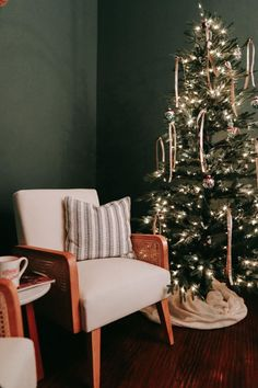 Holiday Guest Room Makeover- BHER Pine Mountain Room - Dark Green Paint - Dark Paint Color - Pine Tree Photography Print - Green Interior Design - Home Depot Collaboration - Cane Accent Chairs  - Christmas Decor - Farmhouse Christmas - Christmas Bedroom Decor