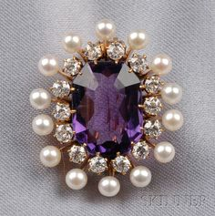 Antique Amethyst, Diamond, and Seed Pearl Pendant/Brooch