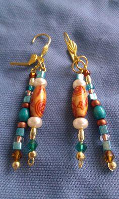 Wood pearl turquoise dangle duo earrings gold by DoubleDzBeadz, $4.98
