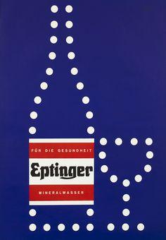 Herbert Leupin Poster: Eptinger  (bottle and glass - dark blue)