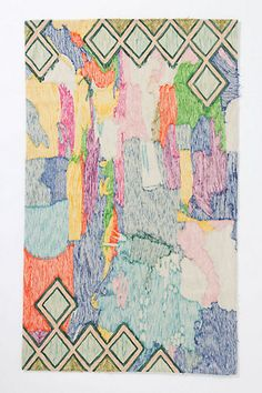 Crewel Abstraction Rug - Anthropologie - inspiration for painted canvas tarp under art area for toddler