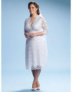 Inexpensive Empire V-Neck Sleeved Short Lace Plus Size Wedding Dresses