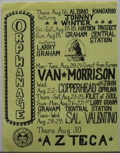 Van Morrison The Orphanage 1973 Concert Flyer Johnny Winter Azteca Copperhead   Click this image to join the Texas Psych Group, now on Facebook! A continuation of the original Yahoogroup around since 1998!