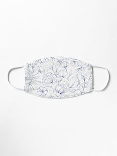 A modern hand drawn navy blue white elegant floral pattern. A trendy hand drawn design on white background.Get this unique navy blue floral design pattern for her or anyone on any occasion. The perfect gift idea. Motif Floral, Floral Design, Blue Mask, Navy Blue, Blue And White, Mask Design, Bleu Marine, Hand Drawn, Pattern Design