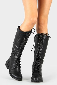 Military Lace Up Knee High Boots
