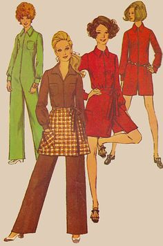 60s Mini Skirt and Long Sleeve Jumpsuit in Two by TheGrannySquared #SSPS