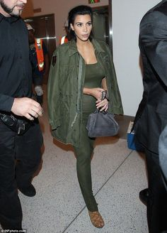 Pregnant Kim Kardashian takes it back to basics in khaki maxi-dress - Kim Kardashian Style