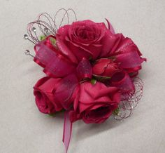 Pink Spray Roses with swirls of wire and rhinestones