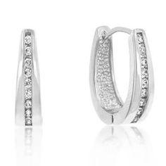 Elegant Silver Tone CZ Hoop Earrings