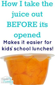 A school lunch tip you don't want to miss!  how to take the juice out WITHOUT opening the container!  (no mess when they open it!)