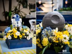 Stars Wars themed centerpieces during reception at Air and Space museum #weddingphotography / just added