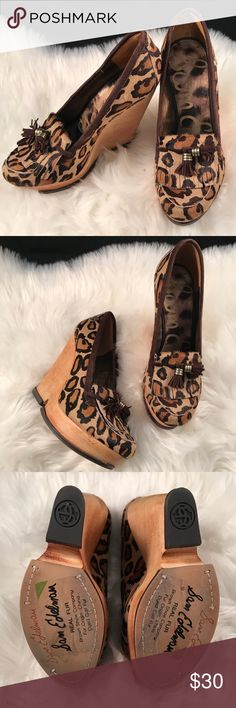 """Sam Edelman Leopard Calf Hair Wesley Wedge 7.5 Sam Edelman Wesley Wedge Loafer!  Such a fabulous shoe! Leopard print genuine calf hair uppers complete with a brown suede tassel and fringe!  Platform wood-look wedge makes these extra chic!  Platform style makes the wedge heel more comfortable and manageable!  Size 7.5 4.5"""" wedge Shoes are in good pre owned condition! Some discoloration on the wood wedge at the back.  Please look over all photos! Sam Edelman Shoes Wedges"""