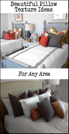 Great pillow texture ideas, layers and combinations! In different colors look for old twin beds for her big girl room :)