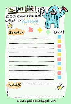FREE #printable #to-do-list with cute monster // Squid Bits!