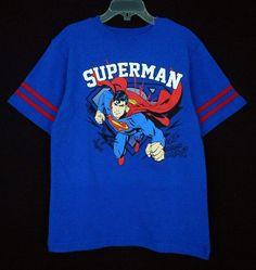 Superman T Shirt Kids Blue Sz L 7 Cotton Short Sleeve Crew Everyday Boys #SupermanIsaacMorrisLTD #Everyday