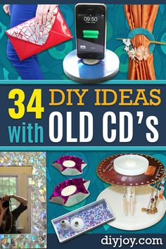 DIY Ideas With Old CD - Recycle CDs and Compact Discs into Jewelry, Room Decoration Mosaic, Coasters, Garden Art and DIY Home Decor Using Broken DVD - Photo Album, Wall Art and Mirror - Cute and Easy DIY Gifts for Birthday and Christmas Holidays - Creative Crafts With Compact Discs via @diyjoycrafts