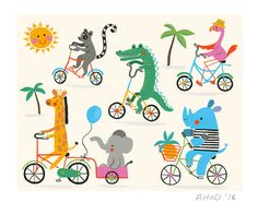 Jungle Animal Bicycle Gang Art Print Kids by AbiHallPrintShop