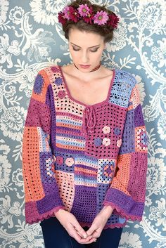 Crochet Top Patterns Free pattern for gypsy* top. *this is a racial slur, plz stop using it. Like, just say boho or something, seriously. Gypsy Crochet, Moda Crochet, Pull Crochet, Freeform Crochet, Crochet Woman, Crochet Tops, Cardigan Au Crochet, Crochet Jacket, Crochet Cardigan