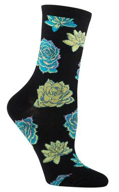 Crew length sock with succulents in pastel colors. Available with a black or a violet background. Fits women's shoe size 5-10.