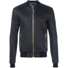 Dolce & Gabbana padded bomber jacket ($1,245) ❤ liked on Polyvore featuring men's fashion, men's clothing, men's outerwear, men's jackets, black, mens padded bomber jacket, mens quilted bomber jacket, mens padded jacket and mens quilted jacket