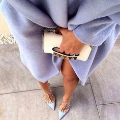 Lavander coat clutch heels perff