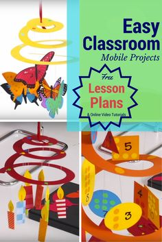 Check out these fun spiral mobiles for your students! They're great for science, holiday decor, social studies... even math! Every cut piece is made easy with our Education Dies. Head to the website for a free lesson plan!   #mobile #classroom #learning #school #elementary #middleschool #science #math #englishlanguagearts #religion #insects #lessonplan #free #tutorial #easyclassroom #schoolproject #teacher #ellison