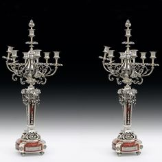 Beautiful pair of #candlesticks in #bronze argenté and cherry red #marble 19th century. For sale on #Proantic by Simetrium Antiquités.