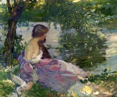 Richard Edward Miller(1875ー1943)「Resting By The Riverbank」(1910-11)