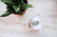 Rise and Grind Coffee Bean Quote Illustrated Ceramic Plastic